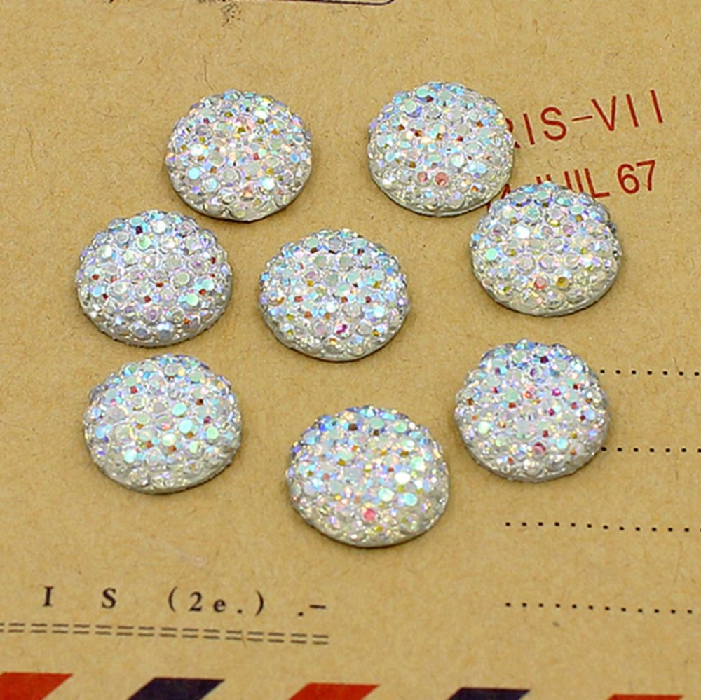 Crystal AB <font><b>10</b></font>,<font><b>12</b></font>,14,16mm Flatback Resin Dotted Round Rhinestone Cabochon Gems,Flat Back Resin Rhinestone For DIY Decoration image