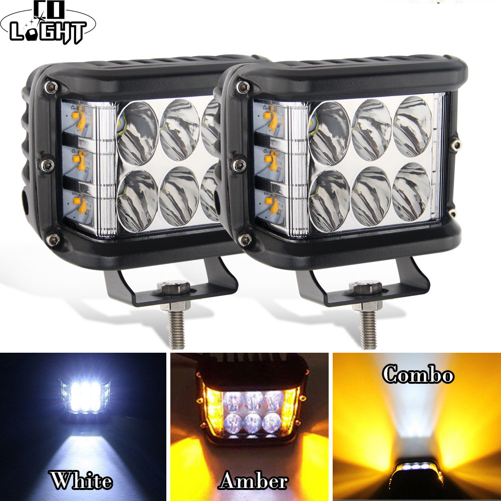 CO LIGHT 4 inch 7D LED Work Light 12V 72W Strobe Side Shooter Flashing Auto Driving Fog Light Bar for Jeep Trucks ATV Boat SUV