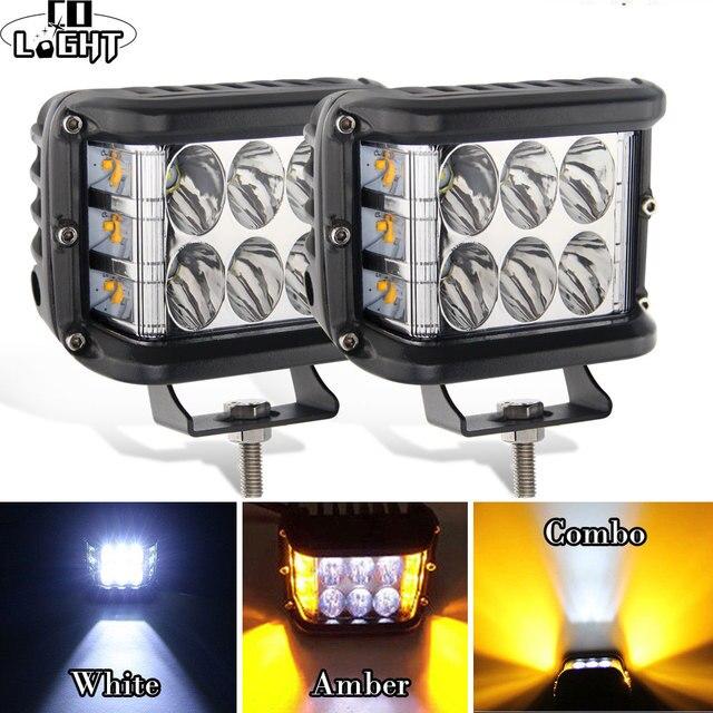 CO LIGHT 4 inch 7D LED Work Light 12V 72W Strobe Side Shooter Flashing Auto Driving Fog Light Bar for Lada Trucks ATV Boat SUV