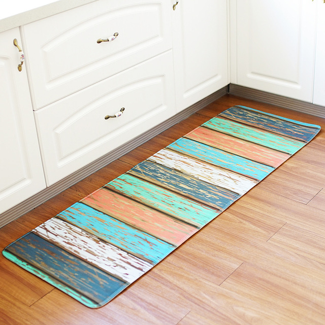Kitchen Floor Mat Vintage Wood Panel Decor Non slip Kitchen Carpet ...