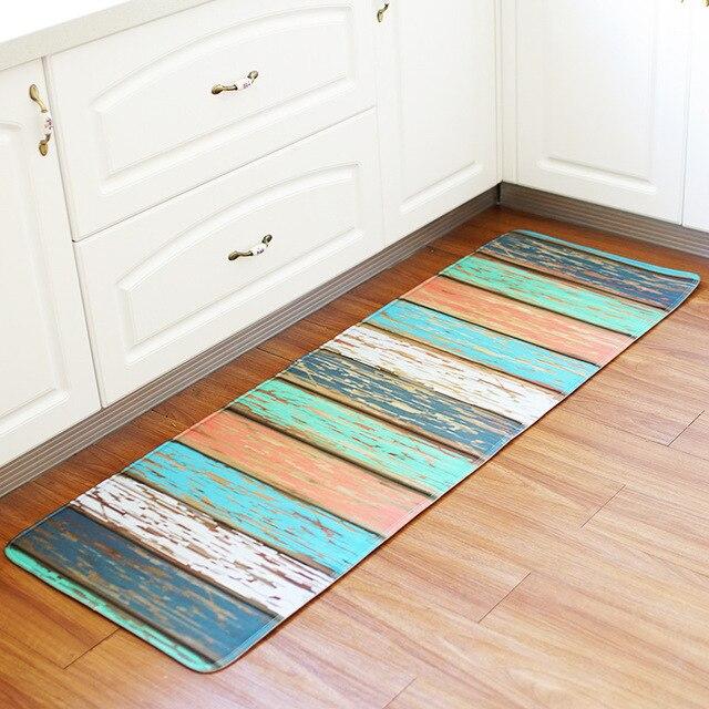 Tapis de sol cuisine Vintage panneau bois décor antidérapant cuisine tapis  salle de bain absorbant paillasson tapis de chevet 55x160 CM
