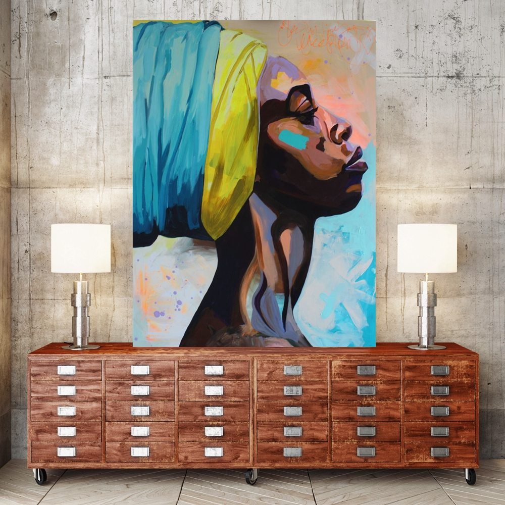 African Home Decor: Contemplator African American Portrait Wall Art Canvas