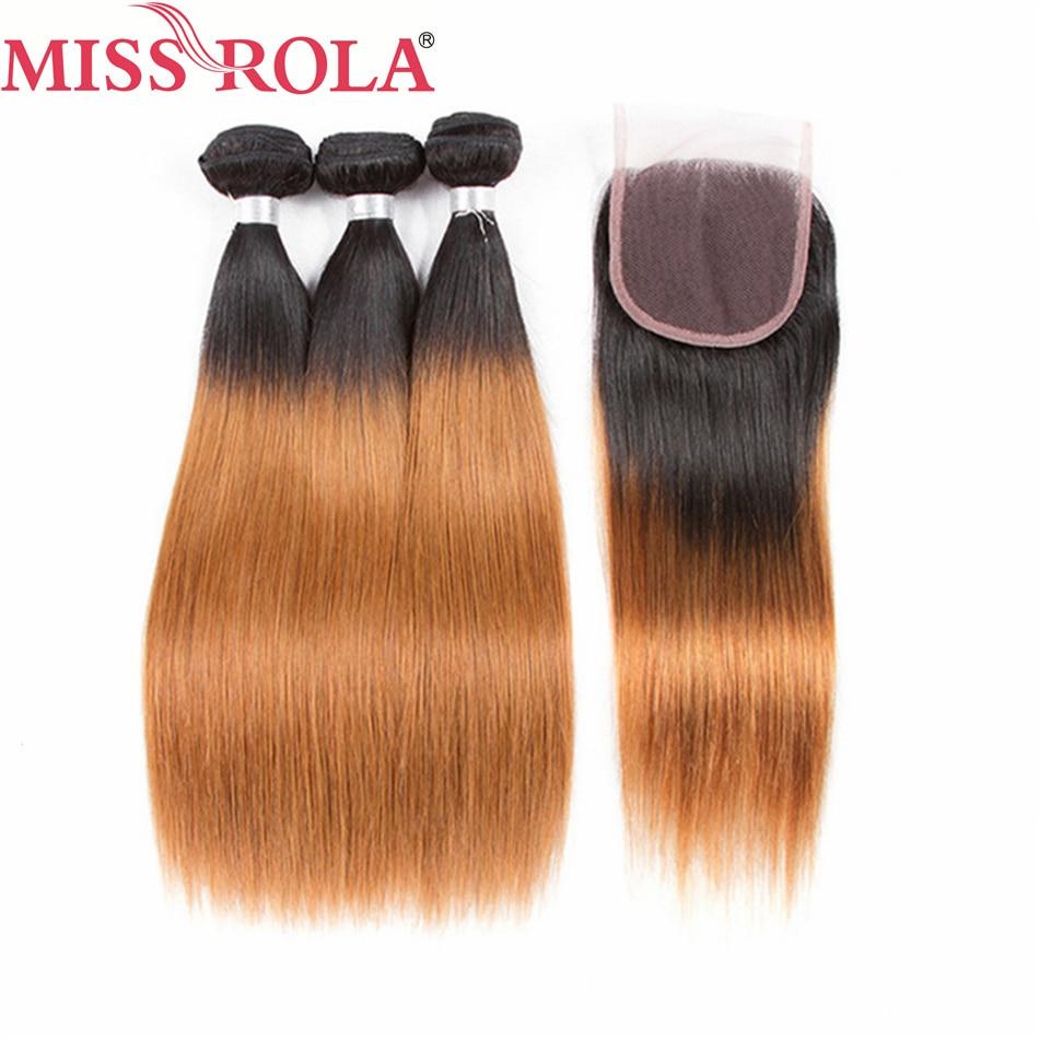 Miss Rola Hair – mèches brésiliennes non-remy lisses pré-colorées T1B/30, 100% cheveux naturels, Extensions de cheveux, avec Closure, lots de 3