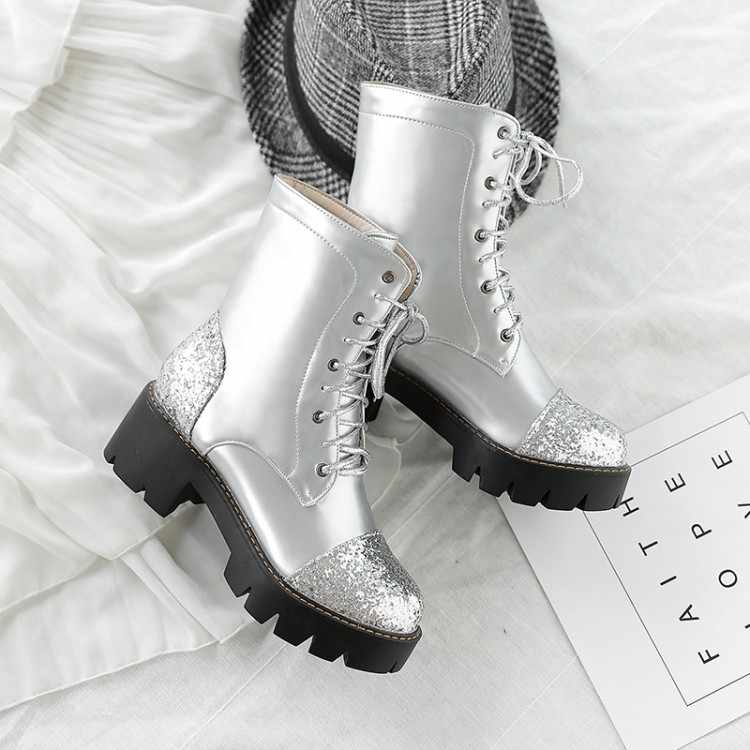Big Size 9 10 11 12 laarzen vrouwen schoenen enkellaarsjes voor vrouwen dames laarzen Lovertjes lace-up uniform