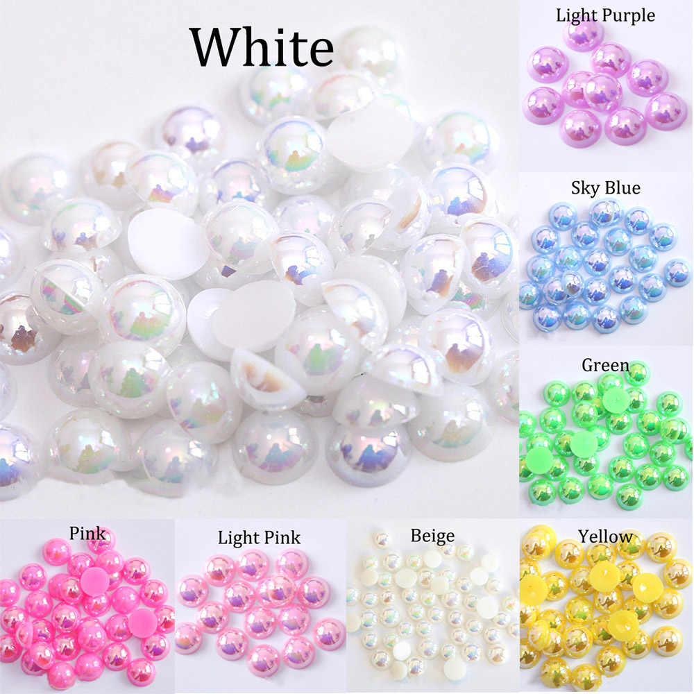 2/3/4/5/6/8/10/12/14 MM Acrylic ABS Beads Pearl Imitation Half Round Flatback AB Colors Bead For Jewelry Making DIY Accessories
