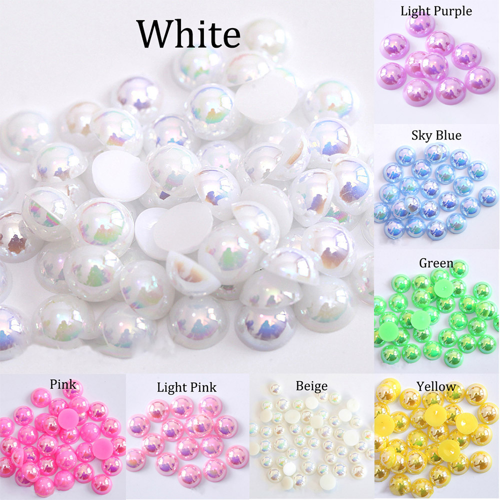 2/3/4/5/6/8/10/12/14 MM Acrylic ABS Beads Pearl Imitation Half Round Flatback AB Colors Bead For Jewelry Making DIY Accessories(China)