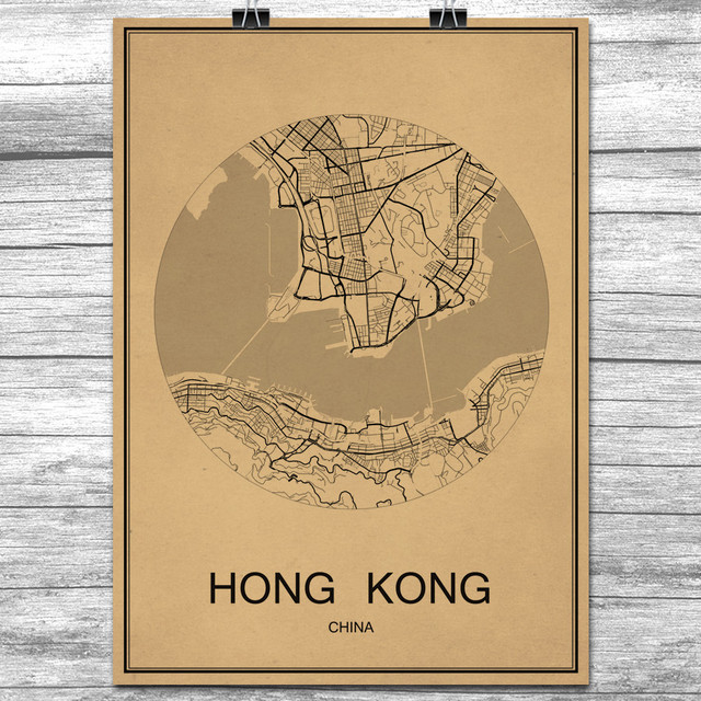 Famous hong kong world city map vintage retro poster krafts paper famous hong kong world city map vintage retro poster krafts paper wall art sticker antique painting gumiabroncs Choice Image