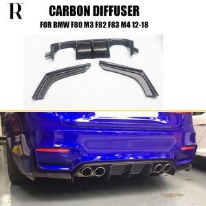M3 M4 V Estilo Fibra de Carbono Difusor Traseiro Com Splitter para BMW F80 M3 F82 F83 M4 2012 - 2019 3 Pçs/set