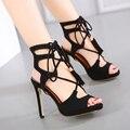 2017 Sandálias Novas Sensuais Mulheres Rendas até Sapatos De Salto Alto Sandálias para As Mulheres Moda Verão Das Sandálias Das Mulheres Sapatos tamanho 35-40