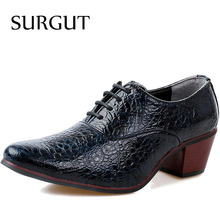 SURGUT Marque De Mode En Cuir Hommes Chaussures Point Toe Élégant Qualit En Cuir Hommes Robe Appartements Chaussures Oxford Pour Hommes D'affaires Chaussures