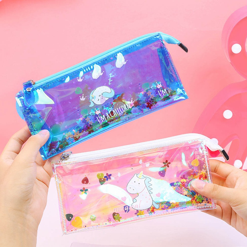 Kawaii Unicorn Sequins Laser Rainbow Glitter Transparent Pencil Case Stationery Storage Bag Pencil Case School Supplies цена