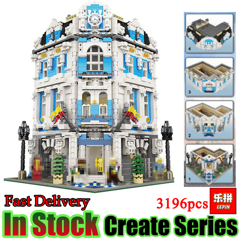 Lepin 15018 3196pcs Creator City Series Sunshine Hotel MOC With Figures Set Building Block Brick Toy for House a toy a dream lepin 24027 city series 3 in 1 building series american style house villa building blocks 4956 brick toys