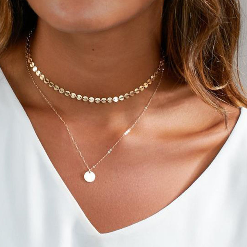2017 Summer Simple Gold Coin Layered Choker Necklace For ...