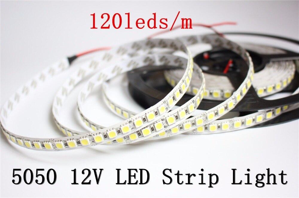 New LED Strip 5050 DC12V 120LEDs/m 5m/lot Flexible LED Strip Lighting tape Warm white/White 5050 LED