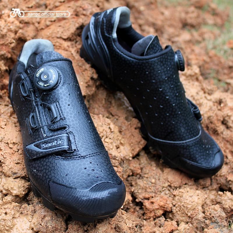 Santic ciclismo mtb sapatos preto em cima do sistema de fixação padrão único impresso tpu s12025h