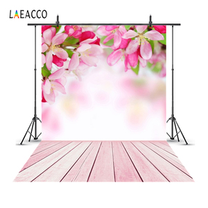 Image 1 - Laeacco Flowers Bokeh Wooden Floor Spring Backdrops Baby Newborn Portrait Photography Backgrounds Photophone Photocall Photozone