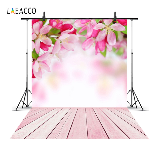 Laeacco Flowers Bokeh Wooden Floor Spring Backdrops Baby Newborn Portrait Photography Backgrounds Photophone Photocall Photozone