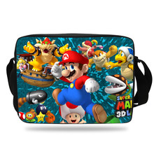 Popular Cartoon Shoulder Bag Strap Black For Children Super Mario Messenger Bag For Girls Boys Kids School Single Shoulder Bags(China)