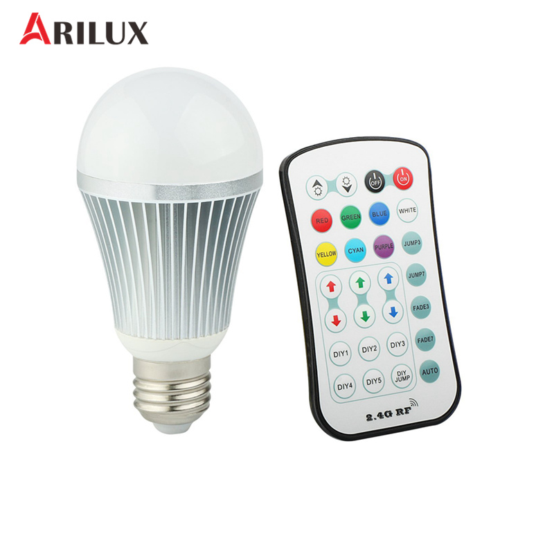 ARILUX E27 LED Bulb Light 5730/5050 SMD AC85-265V 9W RGB+W Globe LED Light Bulb With 2.4G Wireless Remote Controller thrust bearing factory direct sale 6306 6306zz 6306z 6306 2z 80306 30 72 19 mm high quality deep groove ball bearing 2pcs lot
