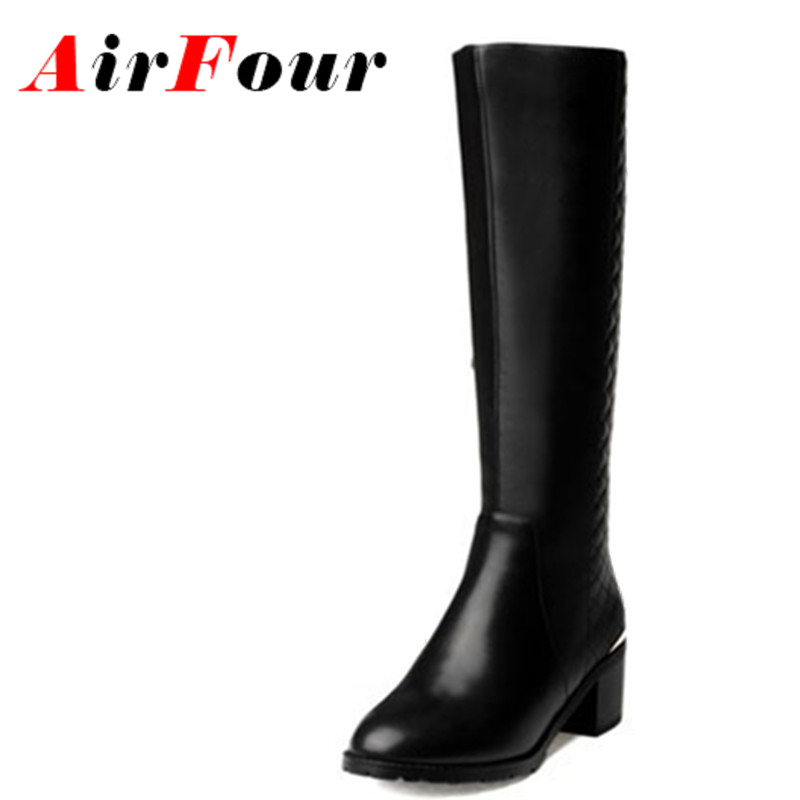 ФОТО Airfour Women Motorcycle Boots Med Heels Back Zipper Knight Boots Women Winter Shoes Women Knee High Boots Black Size 34-42