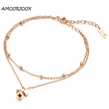 AMOURJOUX Fashion Gold Plating Cute Bowknot Charm Leg Anklets For Women Ankle Bracelet Woman Anklet Female Foot Jewelry