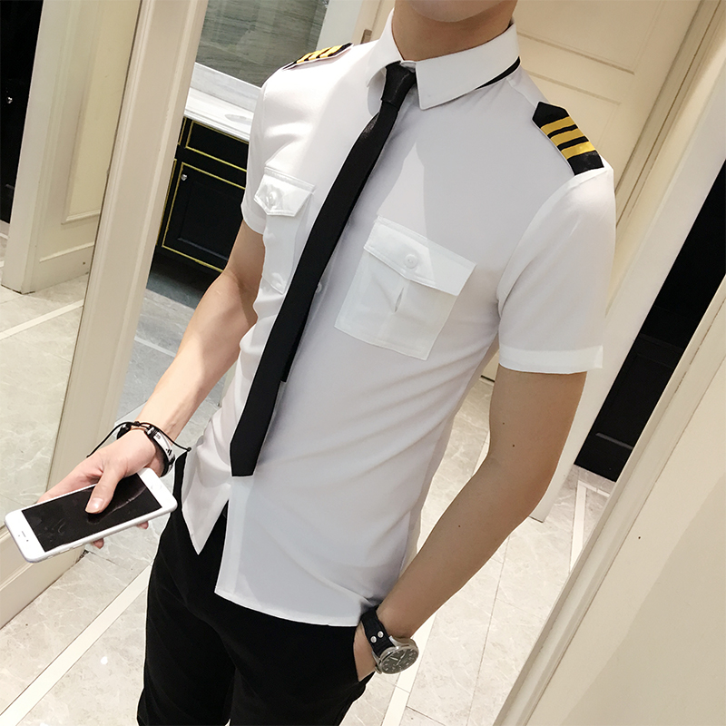 Flight Attendants Clothing Spring <font><b>Men</b></font> Short Sleeve <font><b>Shirt</b></font> <font><b>Summer</b></font> Slim Fit Casual <font><b>Mens</b></font> <font><b>Shirts</b></font> <font><b>Summer</b></font> Camisa Masculina Black/White image