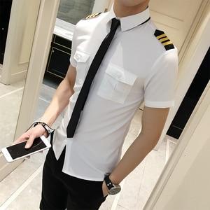Image 1 - Stewardessen Kleding Lente Mannen Korte Mouw Zomer Slim Fit Casual Heren Shirts 6XL S Camisa Masculina Zwart/Wit