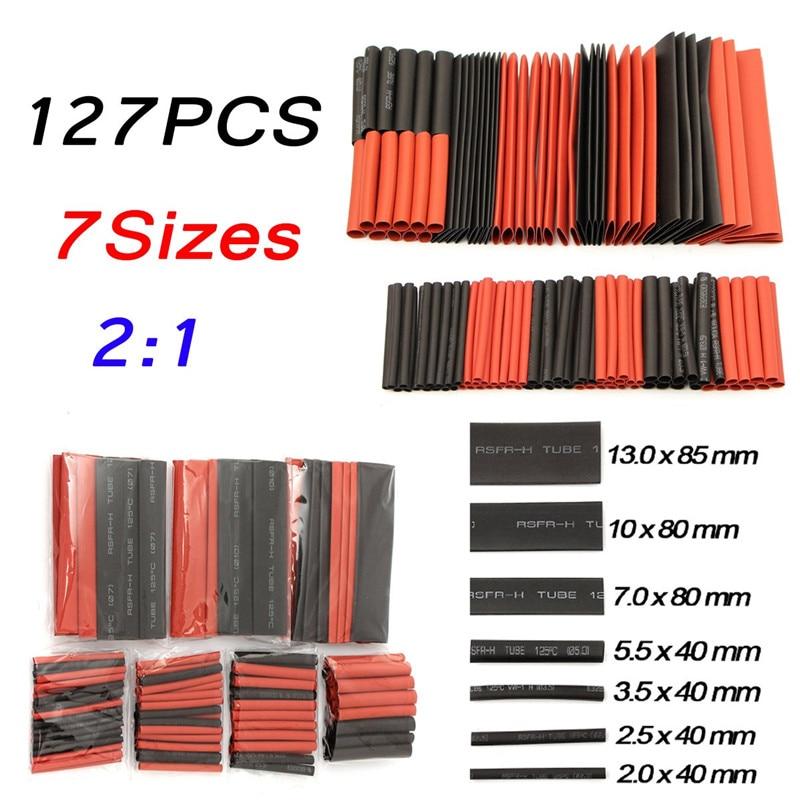 127Pcs 2:1 Polyolefin Heat Shrink Tube Shrinkable Sleeve Heatshrink Insulation Wire Cable Tube Wrap Tubes Kit Red,Black