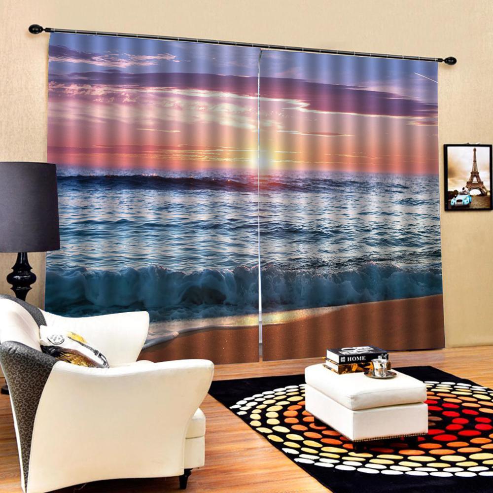 beach 3D Curtain Luxury Blackout Window Curtain Living Room sunset curtains Blackout curtain Drapes Cortinas