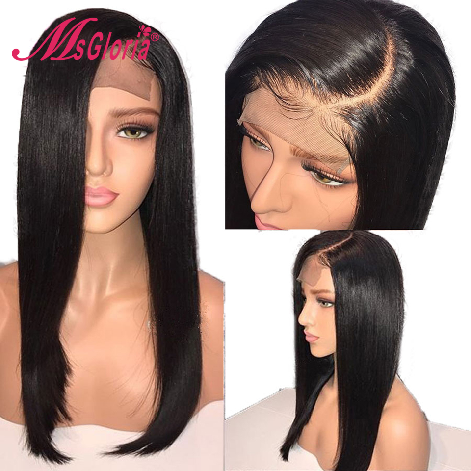 Glueless Lace Front Human Hair Wigs For Women Black Pre Plucked Brazilian Straight Lace Wig With