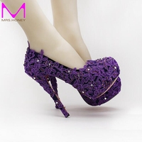 Purple Flower Rhinestone Bridal Shoes High Heels Stiletto Lace Wedding Shoes New Designer Party Shoes Formal