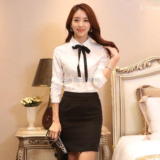 ea7156d352 Nova moda Slim 2015 primavera outono estilo uniforme Formal ternos blusa e  saia para senhoras escritório