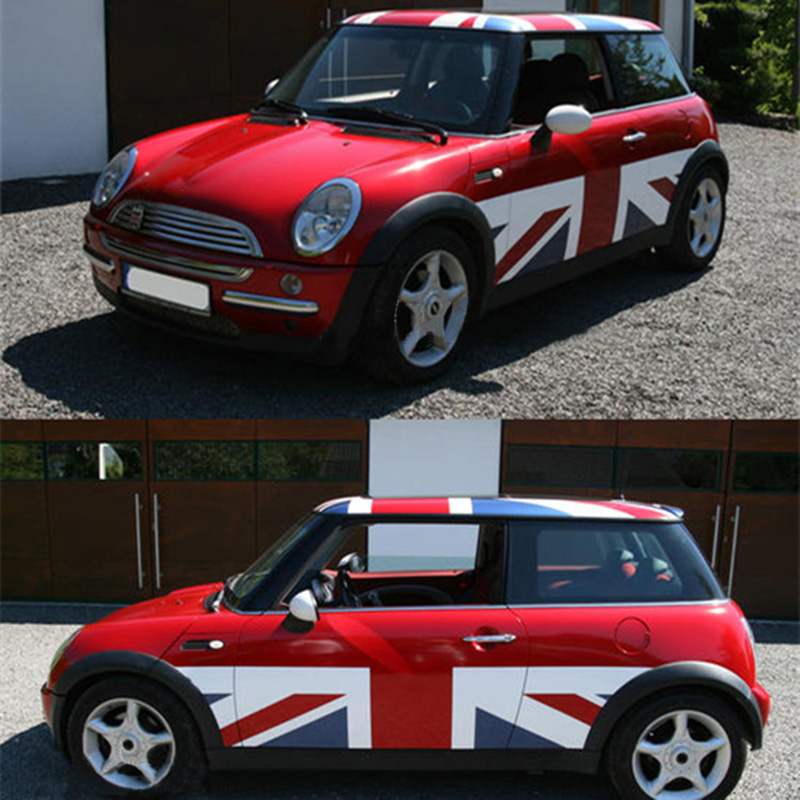 лучшая цена Union Jack Style DIY Car Side Door Skirt Bady Sticker Decal For Mini Cooper One JCW S R60 R55 R56 F55 F56 F60 Car Styling