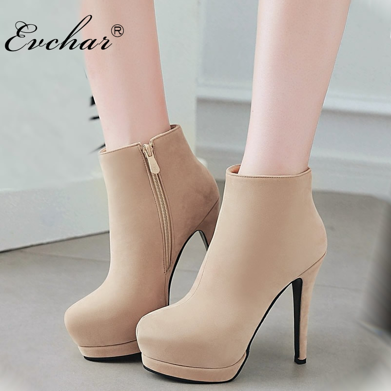 EVCHAR Women autumn Winter Boots Sexy super High Heels Ankle Boots Platform Boots Shoes Female Zip Shoes Big Size 32-43 цена
