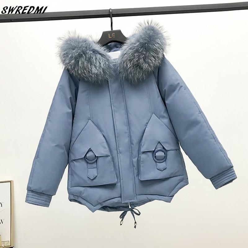 SWREDMI Winter Coat Women 2019 New Loose Fashion Dovetail   Parka   Female Thickening Warm Down Cotton Jacket Women Outerwear Hooded