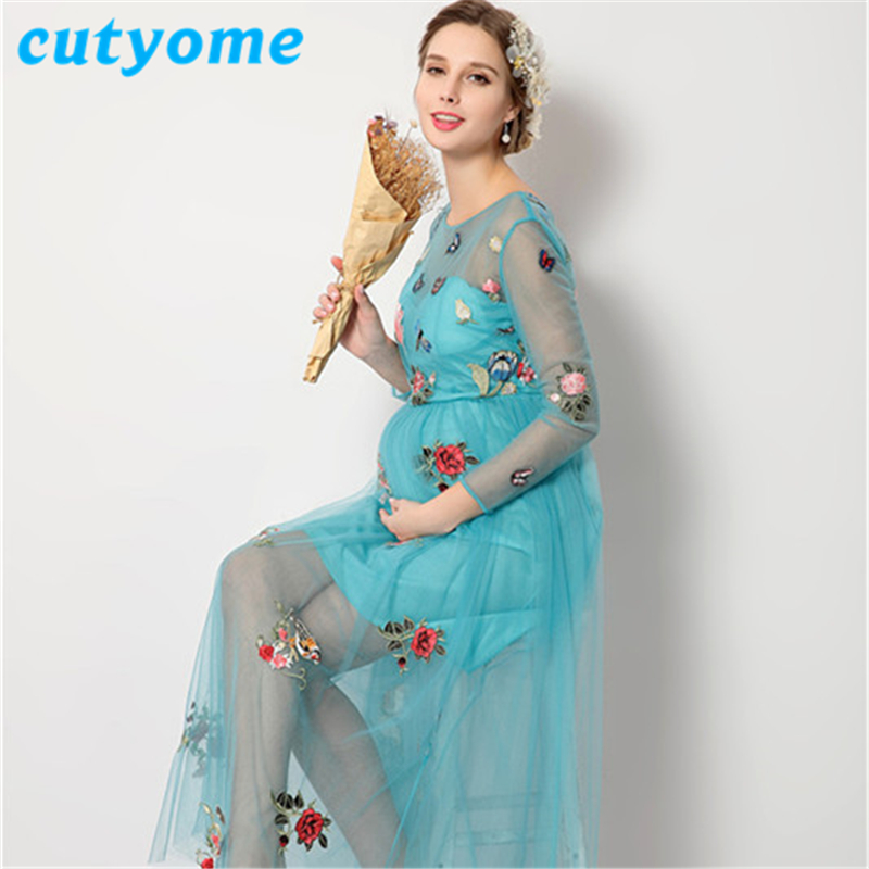 Cutyome Sexy Maternity See Through Dresses Vintage Blue Flowers Lace Photography Props Pregnant Women Clothing for Photo Shoots цена