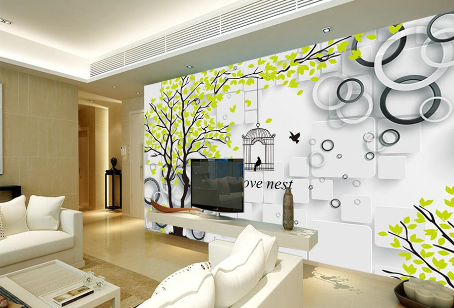 Custom large murals papel de parede,Fresh tree nest cage wallpapers,living room TV sofa wall bedroom 3d room wallpaper landscape custom papel de parede infantil see graffiti mural for sitting room sofa bedroom tv wall waterproof vinyl which wallpaper