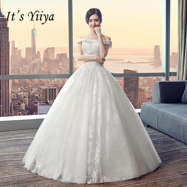 It s YiiYa Floor-length Wedding Dresses Elegant Lace Maternity Brides Gowns  Lace Up Vestidos De Novia Casamento HX019 4942ccca75ae