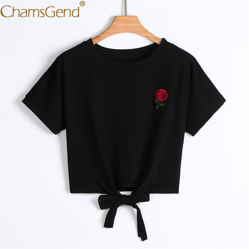 55a9b35d8997 Chamsgend Shirt Newly Design Women Girls Casual Embroidery Rose Applique  Lace up Crop Top Short Tee