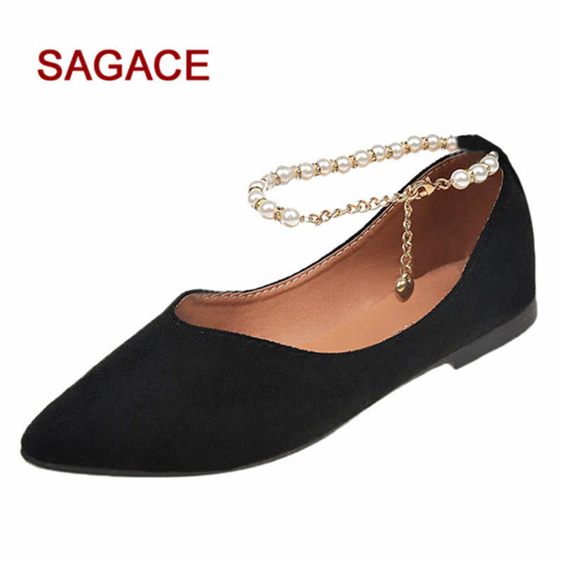 d257a81211a HB SAGACE Shoes Ladies Pumps Fashion Solid Pointed Toe String Bead Buckle  Single Shoes Summer