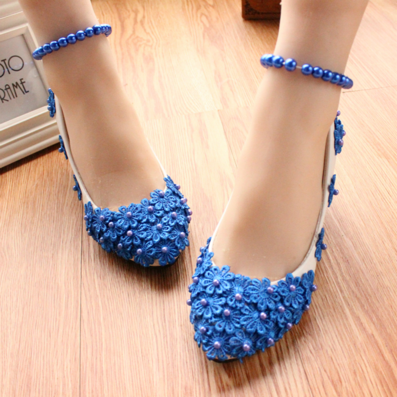 Blue fashion shoes handmade women s wedding shoes dress low heeled anklets women s pumps 3cm