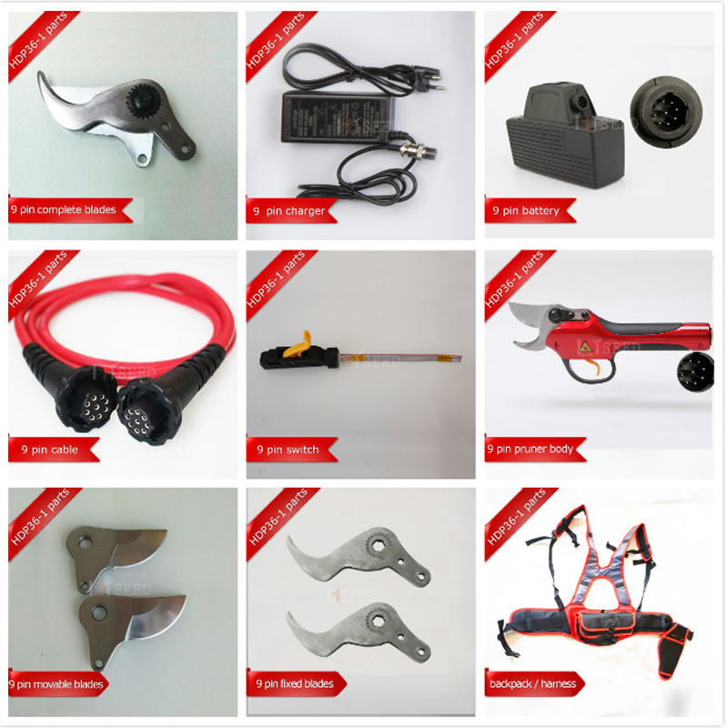 HDP36-1 Spare Parts 9 Pin Spare Cable, 9 Pin Battery, Blades, Limit Switch, Charger, Pruner Body