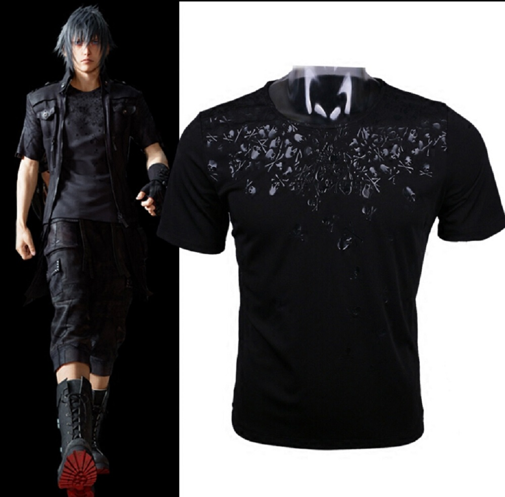 Final Fantasy XV Noctis Cosplay T-shirt Anime FF15 Men T Shirt costume cotton Short Sleeve Tshirt Tops Tee Halloween Party