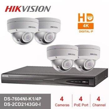 Hik 4CH HD POE NVR Kit 4 piezas 4MP DS-2CD2143G0-I de sistema de seguridad CCTV cúpula cámara IP al aire libre de la visión nocturna IR vigilancia Conjunto