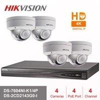 Hik 4CH HD POE NVR Kit 4pcs 4MP DS 2CD2143G0 I CCTV Security System Dome Outdoor IP Camera IR Night Vision Surveillance Set
