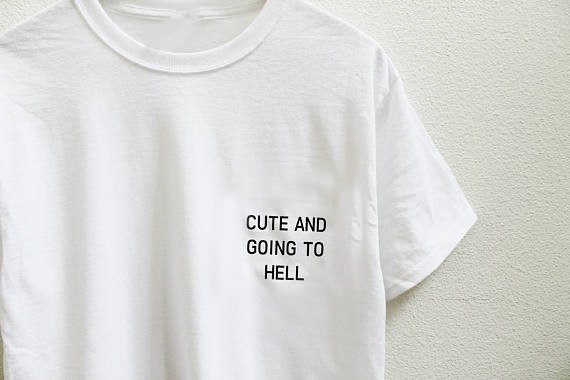 b03c684c CUTE AND GOING TO HELL pocket printed tumblr t shirt Oversized Unisex White  grey pink Tee