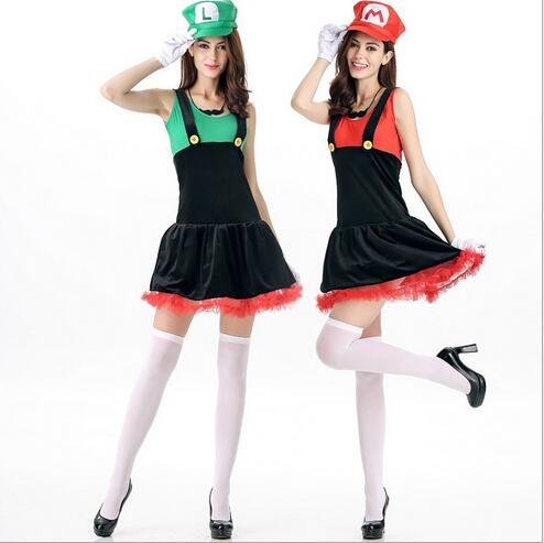 Drop Shipping Holloween Costume  Adult Super Mario Luigi Bros Cosplay Plumber Fancy Dress Up Party Costume