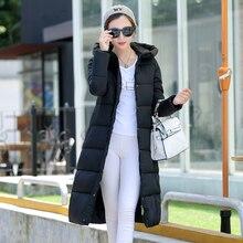 2016 Новая мода Зима новый женский длинный отрезок пальто хлопка-ватник толстые теплые Вниз
