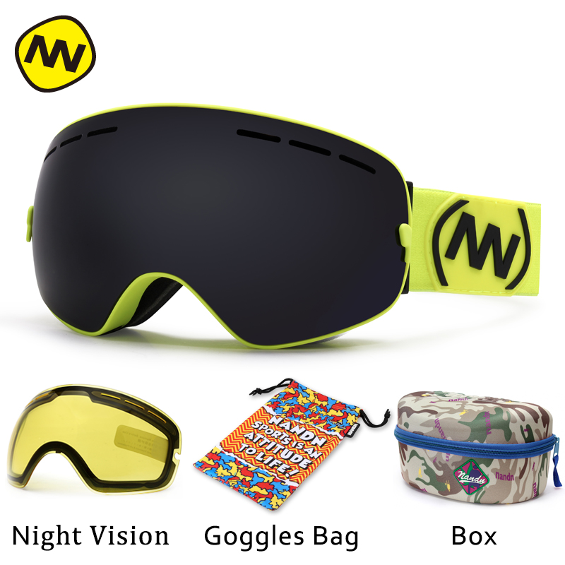 NANDN brand ski goggles UV400 anti fog big ski mask glasses skiing men women snow snowboard
