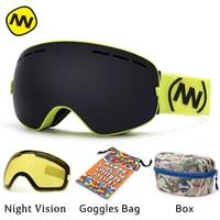 NANDN Brand Ski Goggles UV400 Anti Fog Big Ski Mask Glasses Skiing Men Women Snow Snowboard